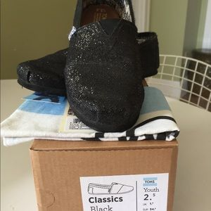 Toms Shoes - Toms Classics Black Glitter Youth Shoes Size 2.5